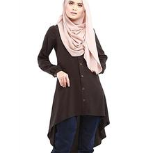 Muslim Blouses Adult Women Shirts Long Time-limited Solid Islamic
