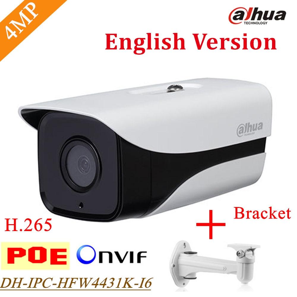 New Dahua 4MP IP Camera DH-IPC-HFW4431K-I6 Network IR 150m H.265 IPC-HFW4431K-I6 Support POE English Firmware with braket Gift original english firmware dahua full hd 4mp poe ip camera dh ipc hfw4421s bullet outdoor camera