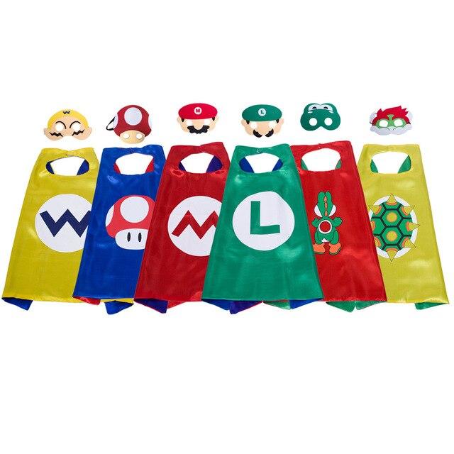 1 conjunto Mario Capa e Máscara Set Traje crianças festa de aniversário favor Estilo Cosplay Trajes de Super-heróis e Presente do Dia Das Bruxas