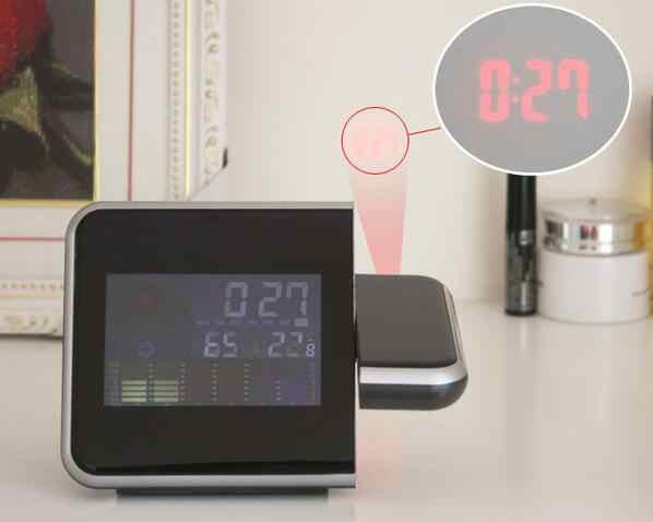 Mới nhất Tiêu Chuẩn Cao 180 Độ Xoay Kỹ Thuật Số LED Alarm Thời Gian Kép Laser Tường Chiếu Chiếu Nhiệt Độ Độ Ẩm