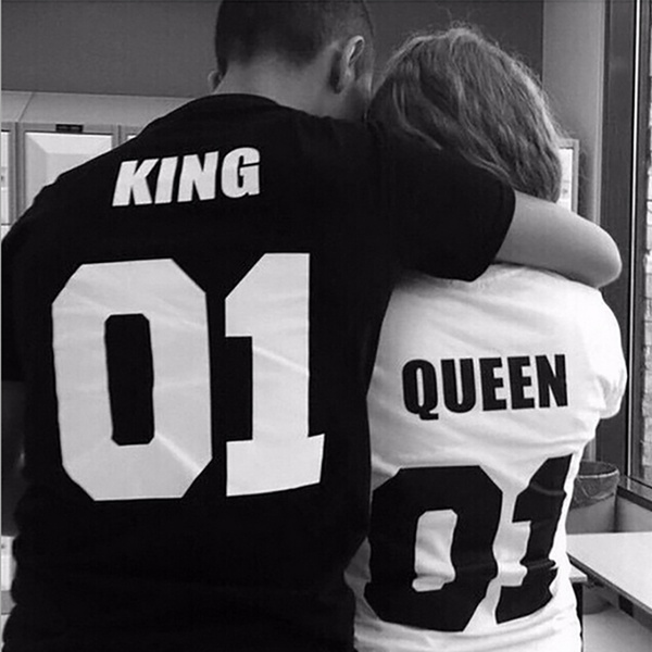 2017 new fashion King 01 And Queen 01 letter printing Short Sleeve Couple T-shirt White(For Women),Black(For men) halajuku tees