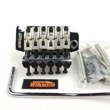 ويلكنسون مرخصة 6 سلاسل الغيتار الكهربائي المزدوج قفل تريمولو نظام جسر 42 مللي متر R2 الجوز الكروم الفضة الأسود WODL1
