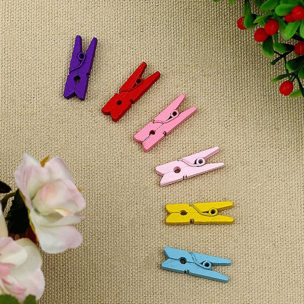 20 PCs 35mm vintage Natural Wooden Clips Paper Photo Clips Clothespin rope 2m Craft Decoration Clips Pegs note memo holder DIY in Party DIY Decorations from Home Garden