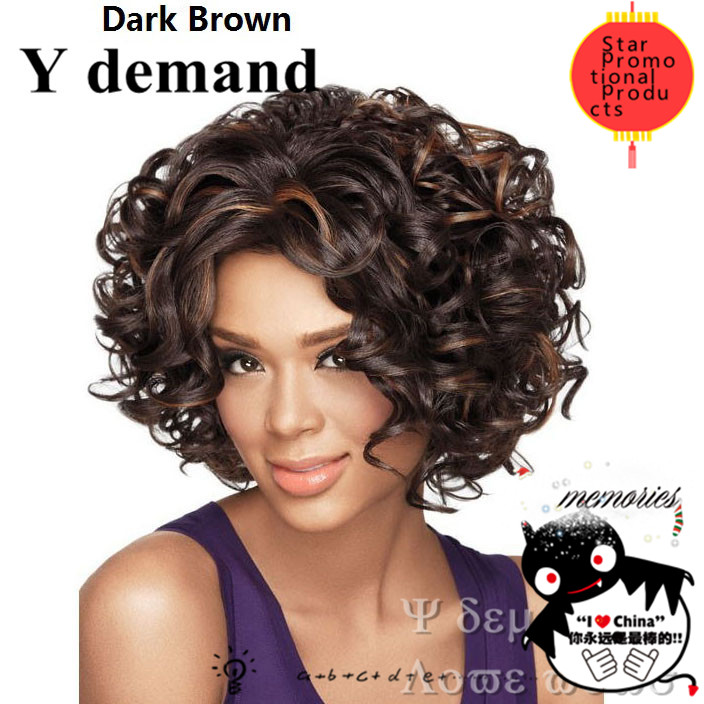 Afro kinky curly wigs synthetic afro cheap for black women bobs pruiken perruque blonde/ Light brown /Dark blown
