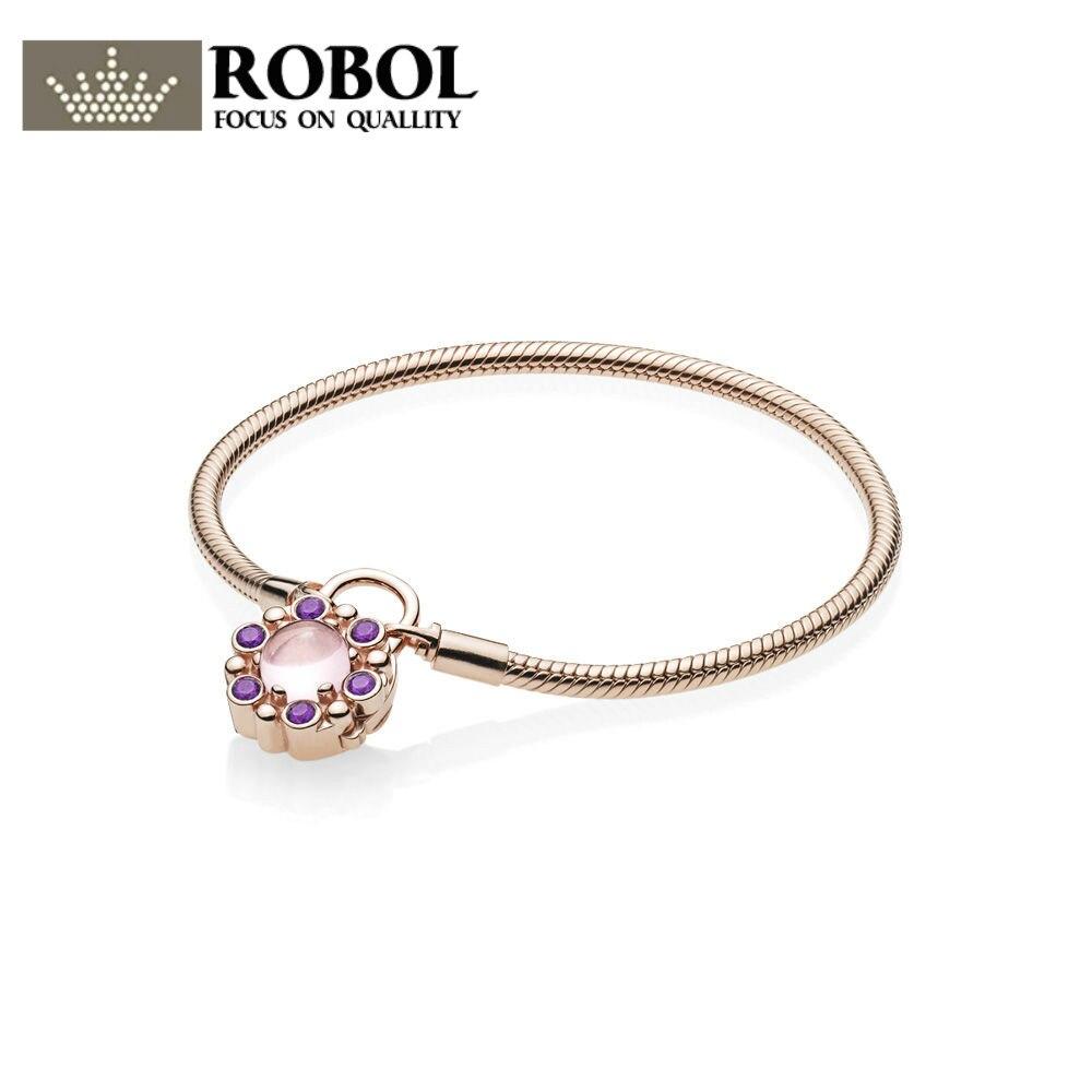 ROBOL Original 925 Sterling Silver Heraldic Charm Radiance Padlock Bracelet Rose & Pink & Crystals 1:1 Jewelry bracelets edward nares heraldic anomalies vol 1