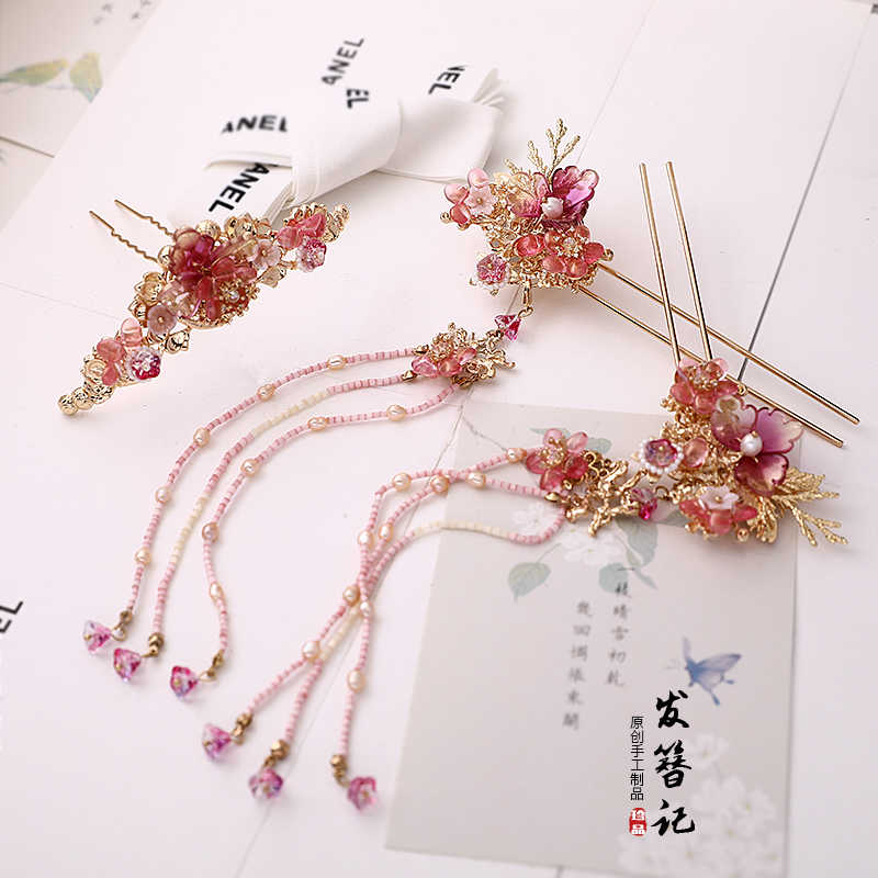 Chinese vintage pink flowers handmade hairpin hair sticks Hair clip accessories Headwear for hanfu kimono COSPLAY 1pc