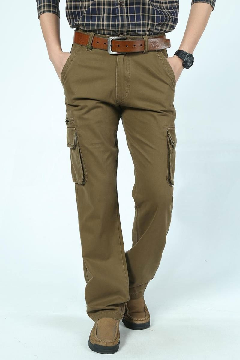 2016 Mens\' Spring Autumn Cotton Cargo Long Pants Pocket Brand AFS JEEP Casual Straight Plus Size Trousers Breathable Pants Khaki (12)