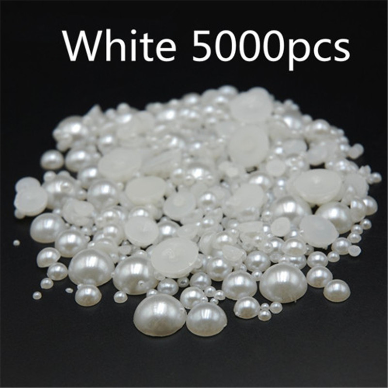 Mixed size 5000pcs/pack White Half Round Resin Flatback Nail Art ABS Pearl For Nail Phone decorative pearls mixed flat back pearls mixed size nail pearls for nails acrylic nail supply nail art rhinestone decorations new arrive zj1233