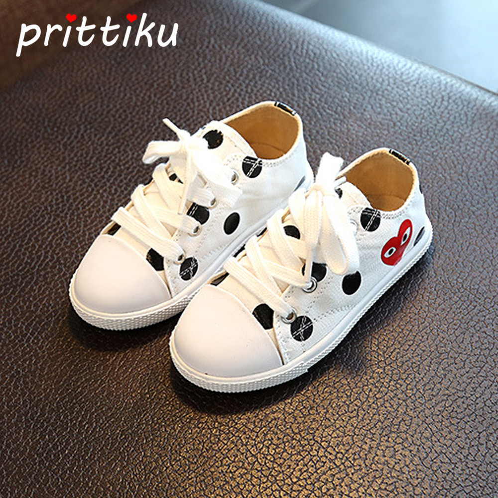 Baby Toddler Girl Boy Original Canvas Sneakers Little Kid Lace Up Polka Dots Casual Trainers Children School Student Sport Shoes adidas sport performance kid s boat lace i sneakers
