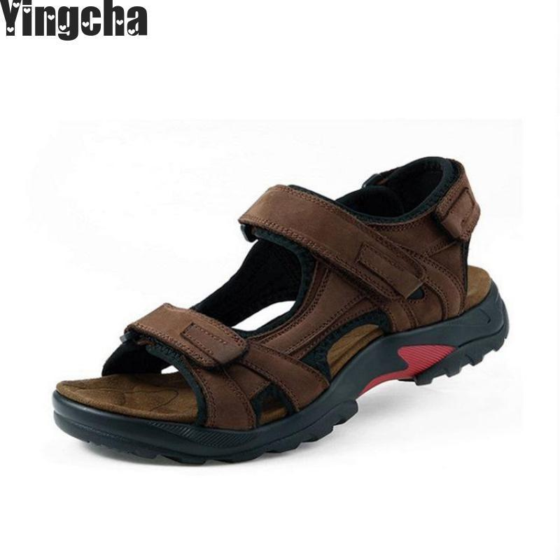 Hot Sale New Fashion Summer Leisure Beach Men Shoes High Quality Leather Sandals The Big Yards Mens Sandals Size 38-48