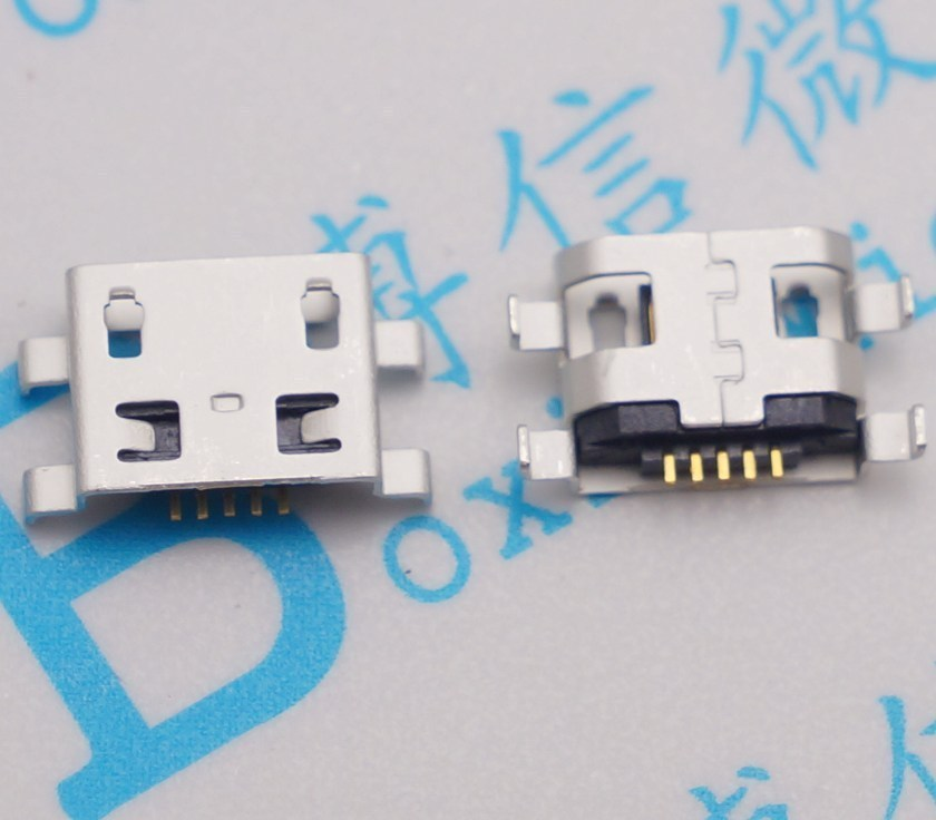 50pcs Micro USB Connector 5pin Heavy Plate 0.8mm B Type No Side Female Jack For Mobile Mini USB Repair Mobile Tablet Tail Plug