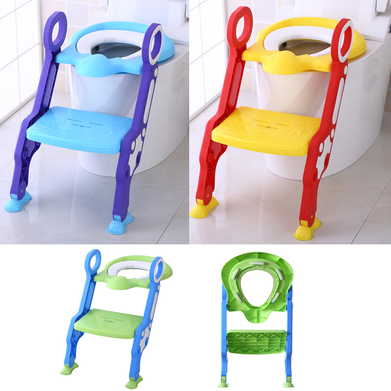 Baby Toddler Potty Toilet Trainer Safety Chair Step With Adjustable Ladder Infant Toilet Folding Portable WC Toilet Urinal Seat