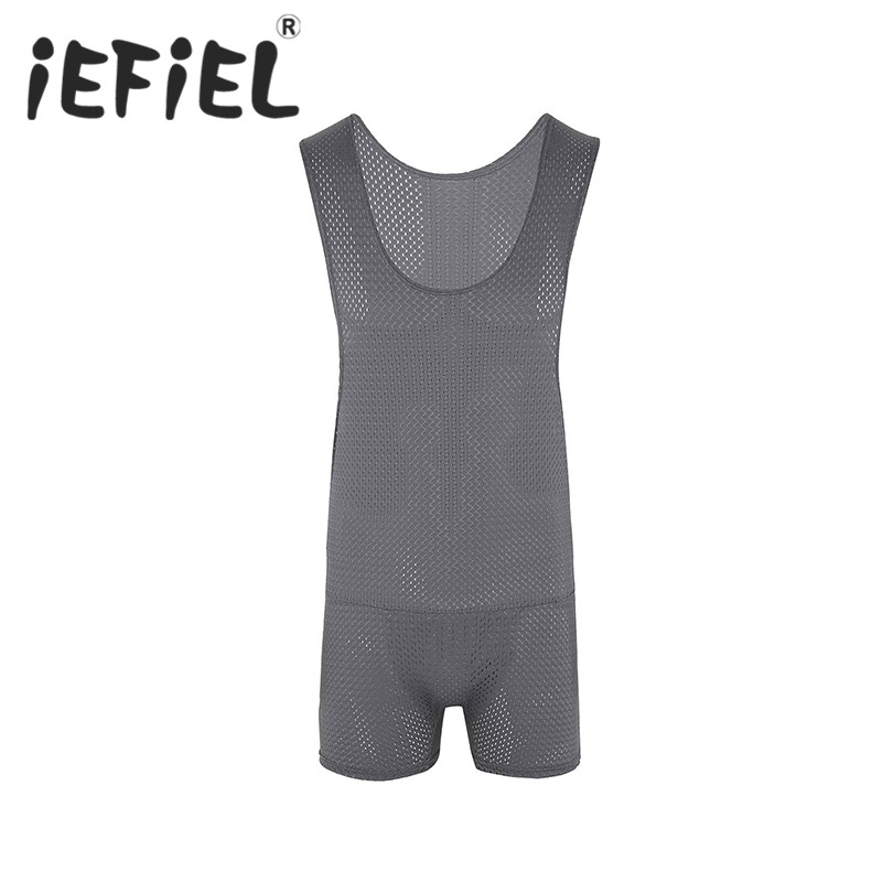 iEFiEL Mens Fashion Mesh Fishnet Wrestling Singlet Breathable Sleeveless Jockstrap Bodysuit Jumpsuits Male Nightclub Underwear