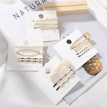 2019 New Korean Fashion Women Simulated peal Hair Pins Geometric Elegant Hair Clips Sweety Barrettes Sets Hair Jewelry Gifts(China)