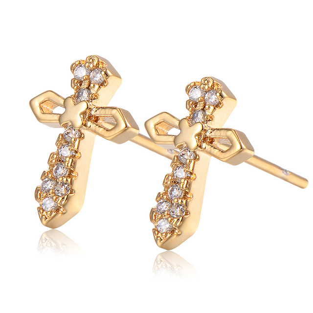 Gold Color Stud Earrings For Children Kid S Safety Back Cute Crystal Cz Cross Trendy