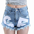 Fashion Sexy Women Summer Mid Waist Jeans Hot Pants Casual Denim Shorts Ripped Hole Distressed Boyfriend Cut Off Frayed Rivet