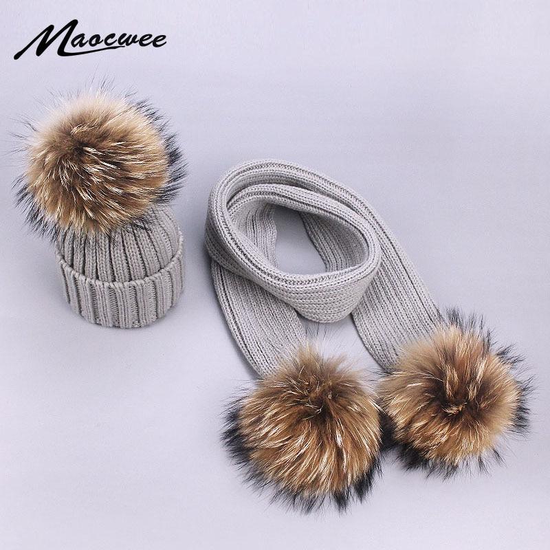 Gorros gruesos cálidos y bufandas de piel auténtica Pom Set para niños madre bebé niños niñas niños sombrero cálido gorro de punto de invierno