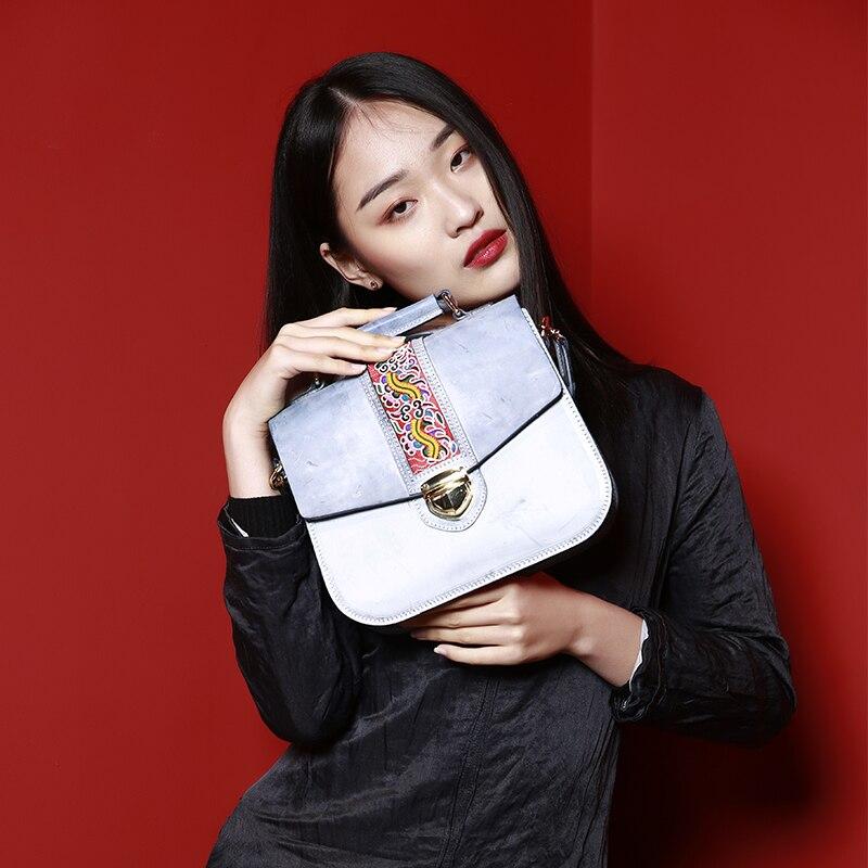 MENOGGA Designer Bag Women Bag 2019 Fashion Luxury New Brand Ladies Hand Bags Retro Embroidery Fog Wax Genuine Leather Bag