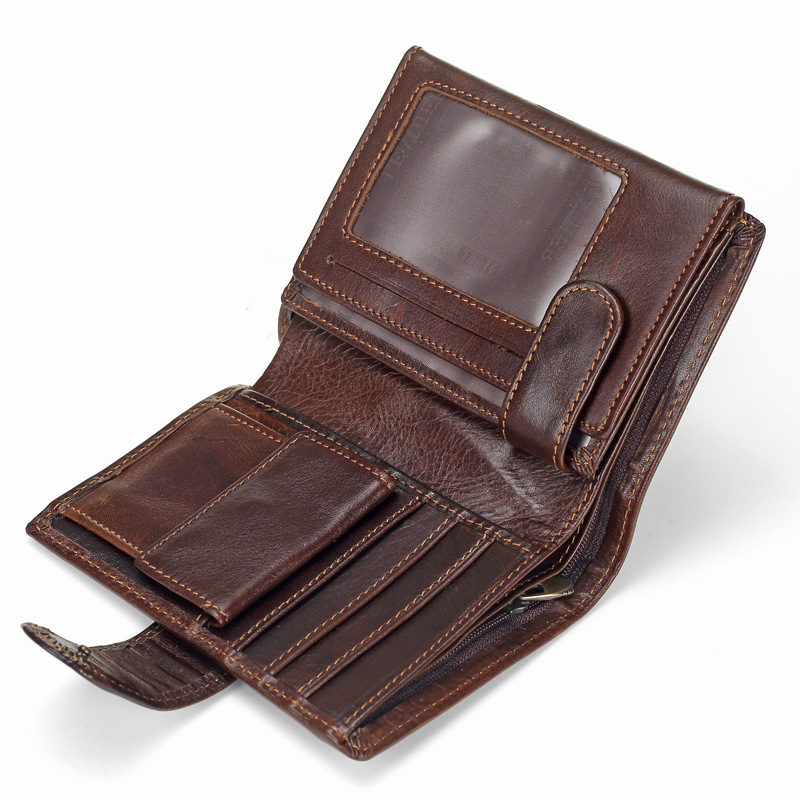 Baellerry Men Wallet Oil Wax Cowhide Genuine Leather Wallets Coin Purse Clutch Hasp Open Top Quality Retro Short Wallet 13.5cm(China)