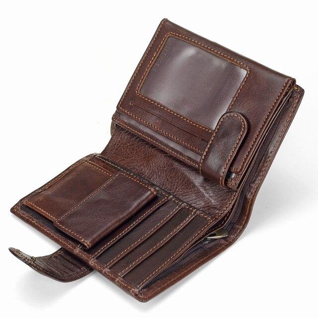 MACHOSSY גברים ארנק שמן שעווה עור פרה עור אמיתי ארנקי מטבע ארנק מצמד וו פתוח למעלה איכות רטרו קצר ארנק 13.5 cm