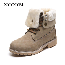 ZYYZYM Boots Women Outdoors Woman Winter Shoes Fur Plush Keep Warm Black Mujer Botas Ankle for