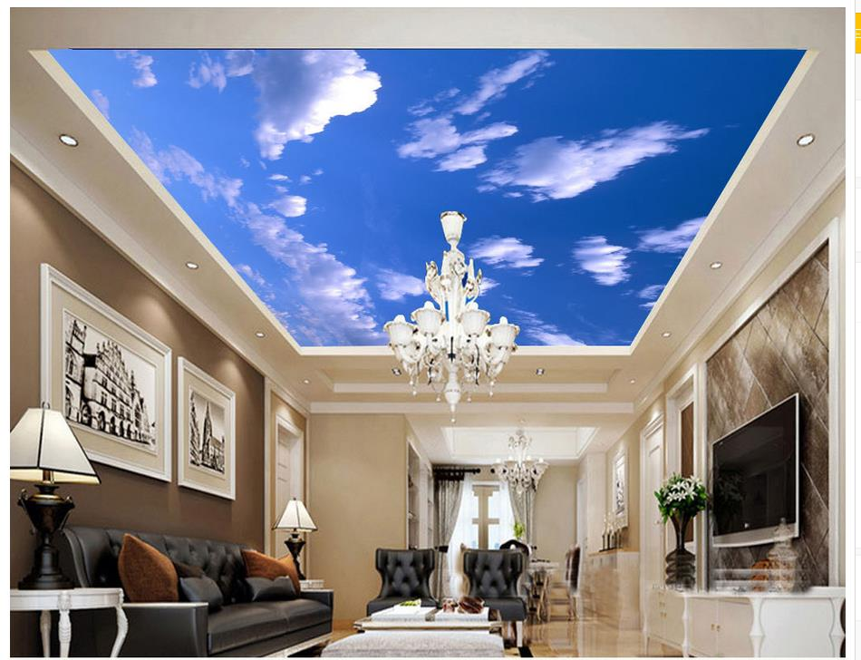 Blue sky ceiling mural backdrop landscape wallpaper murals for Ceiling mural decal