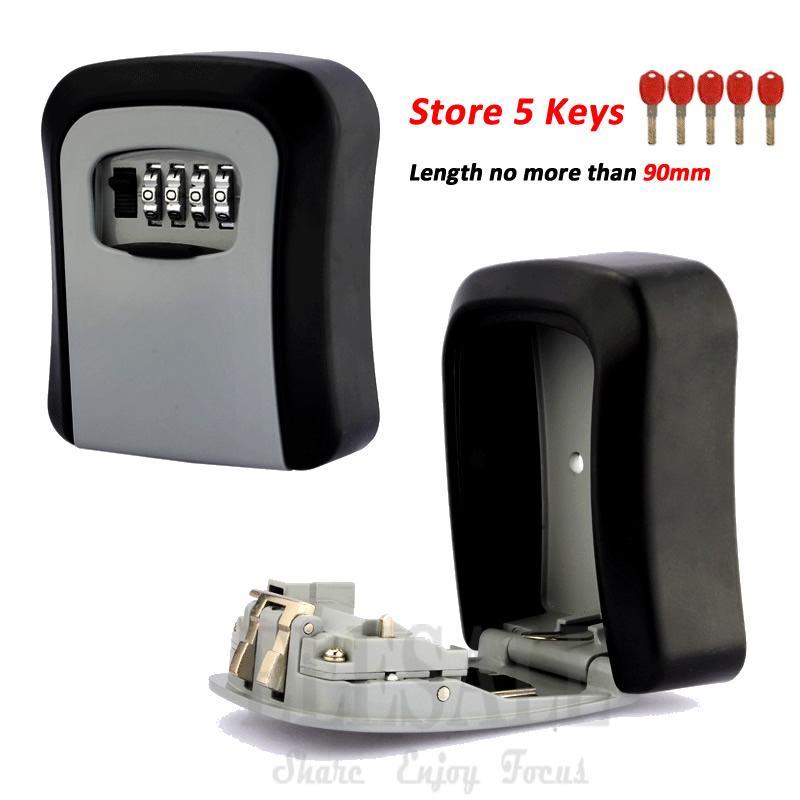 New Wall Mounted Key Safe Storage Box With 4-Digital Combination Lock Metal Secret Box Key Hidden Organizer