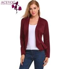 ACEVOG Women Autumn Classic Blazer Long Sleeve V Neck Open Front Basic Jacket Slim Casual Solid