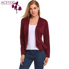 ACEVOG Women Autumn Classic Blazer Long Sleeve V Neck Open Front Basic Jacket Slim Casual Solid Office Lady Blazer Work Jacket
