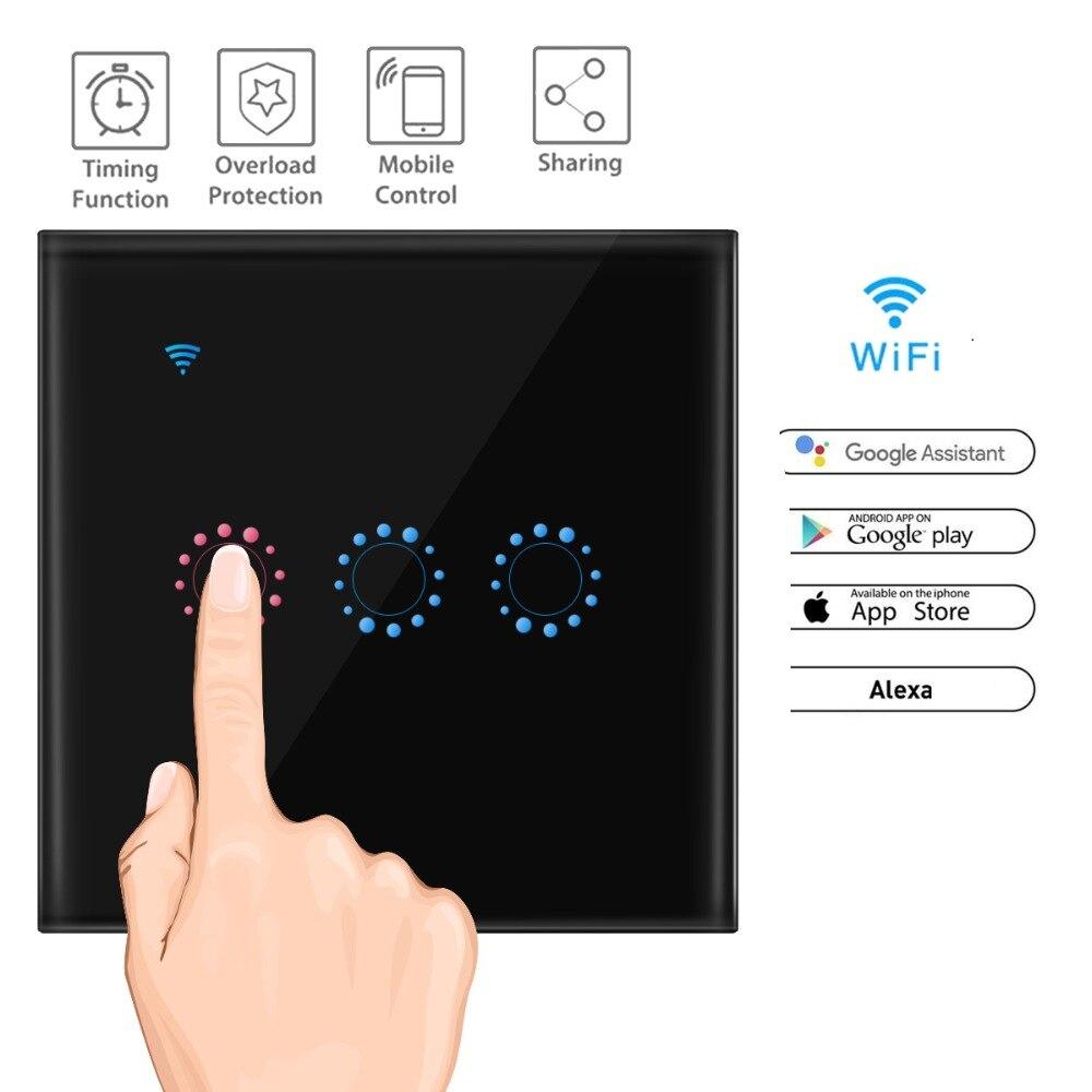 Interruptor de toque Painel de Vidro de Cristal 1/2/3 Ewelink Smart Wall Gang Interruptor Leve Toque Padrão DA UE 220 v Trabalhar com Alexa Inicial do Google