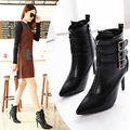 Women's pointed toe shoes autumn side zipper sexy single shoes strap fashion shoes low boots