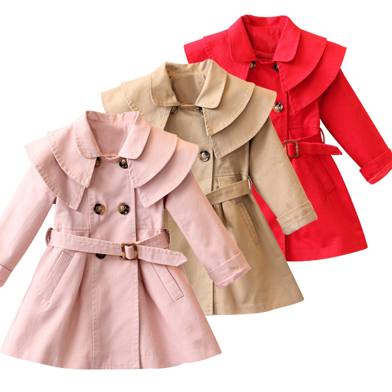 New fashion Children's winter coat red grey Autumn kids jacket sleeve fashion baby coat girl's baby jacket 3-12Y fashion red longline coat with belt