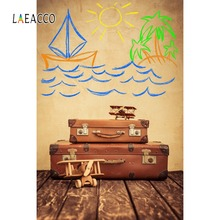 Laeacco Ship Themed Wall Pattern Plane Luggage Wooden Board Baby Photographic Backgrounds Photography Backdrops For Photo Studio