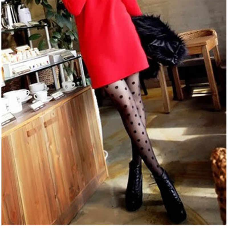 Wanita Wanita Berkualitas Tinggi Celana Ketat Ultra Tipis Sutra Mengkilap Glossy Stocking Pantyhose Wanita Seksi Hitam Dot Tipis Celana Ketat