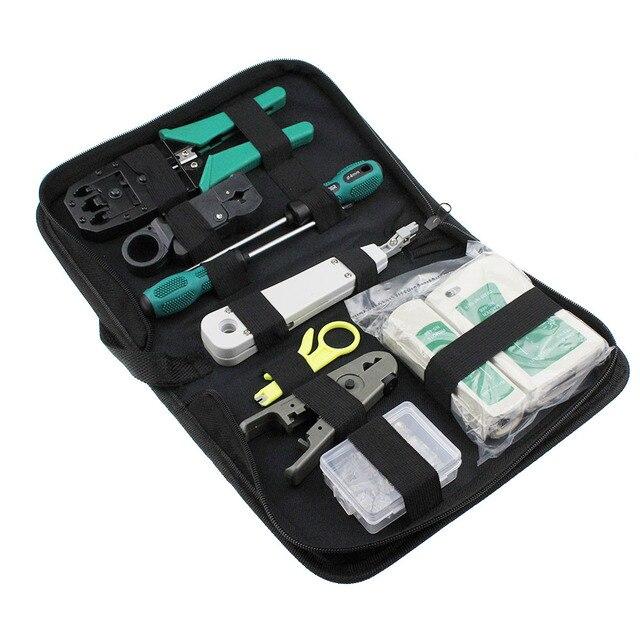 11 adet/takım RJ45 RJ11 RJ12 CAT5 CAT5e Taşınabilir LAN Ağ Onarım Aracı Kiti Utp Kablo Test Cihazı VE Pense Sıkma Crimper fiş Kelepçe PC