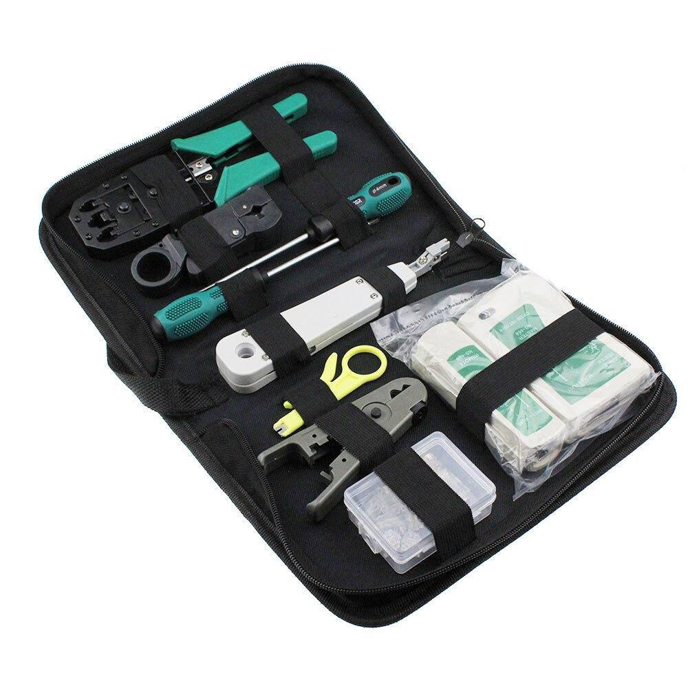 11 pçs/set RJ45 RJ11 RJ12 CAT5 CAT5e Portátil Kit Ferramenta de Reparo de Rede LAN Testador de Cabos Utp E Crimp Crimper Plug Alicate Braçadeira PC