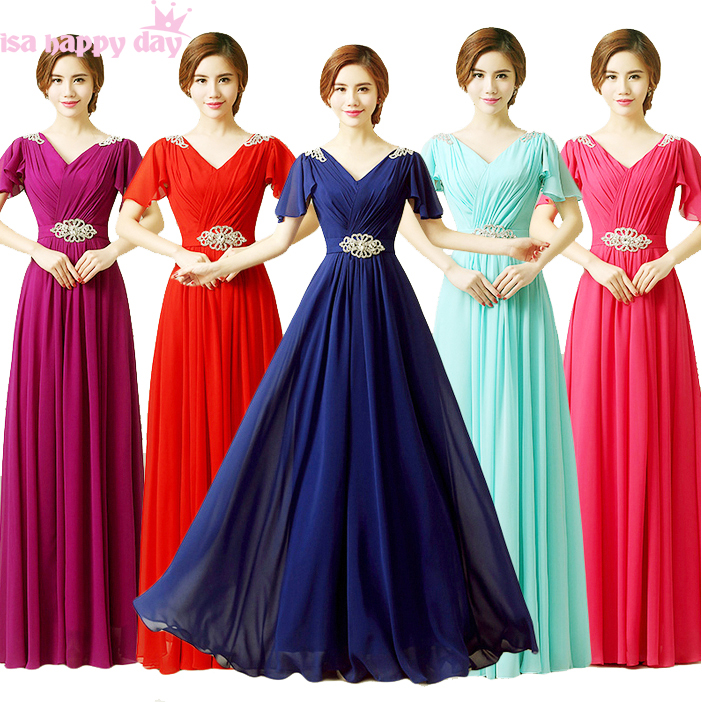 multi color vestido chiffon bridemaid   dress   red sister of the bride a line formal   bridesmaid     dresses   with beads plus size B3492