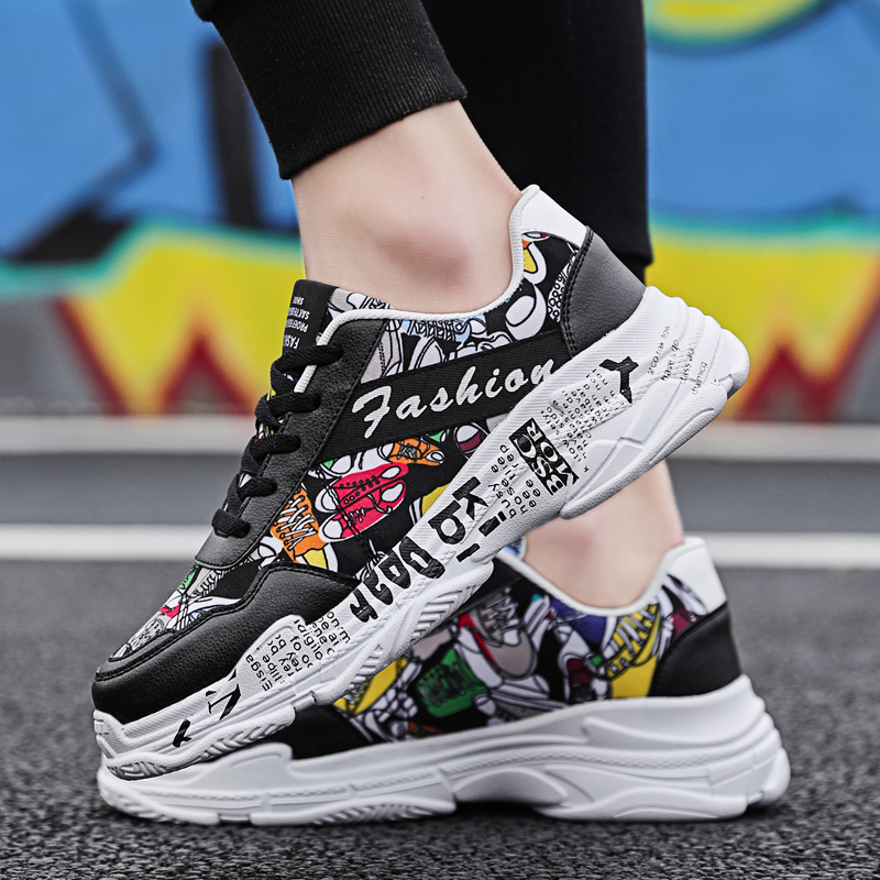 Dropshipping Summer White Sneakers Sping Woman Casual Fashion Sneakers Graffiti Flats Ladies Vulcanized Shoes XYZ159