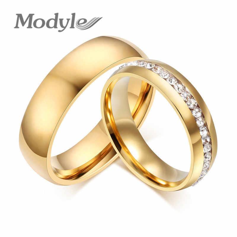 ff2591abb5b3 Modyle anillo de boda de color oro para Mujeres Hombres joyería 6mm anillo  de compromiso de