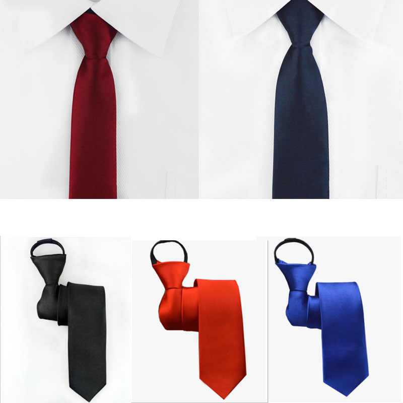 Pre-tied Neck Tie Mens Skinny Zipper Ties Red Black Blue Solid Color Slim Narrow Bridegroom Party Dress Necktie