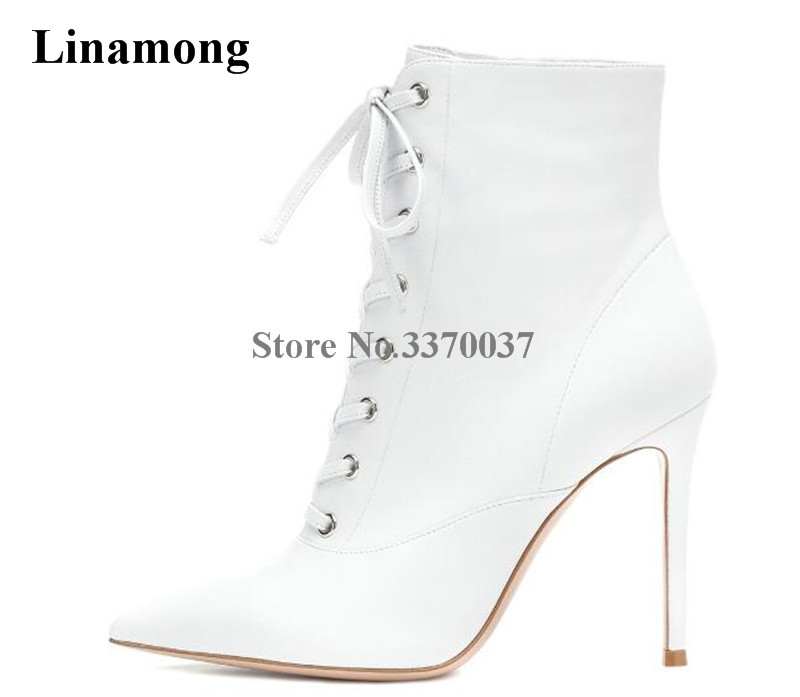 Classical Style Women Elegant Pointed Toe White Black Leather Thin Heel Short Boots Lace-up Super High Heel Ankle Boots women new fashion pointed toe black suede thin heel short boots lace up high heel ankle booties classical style boots