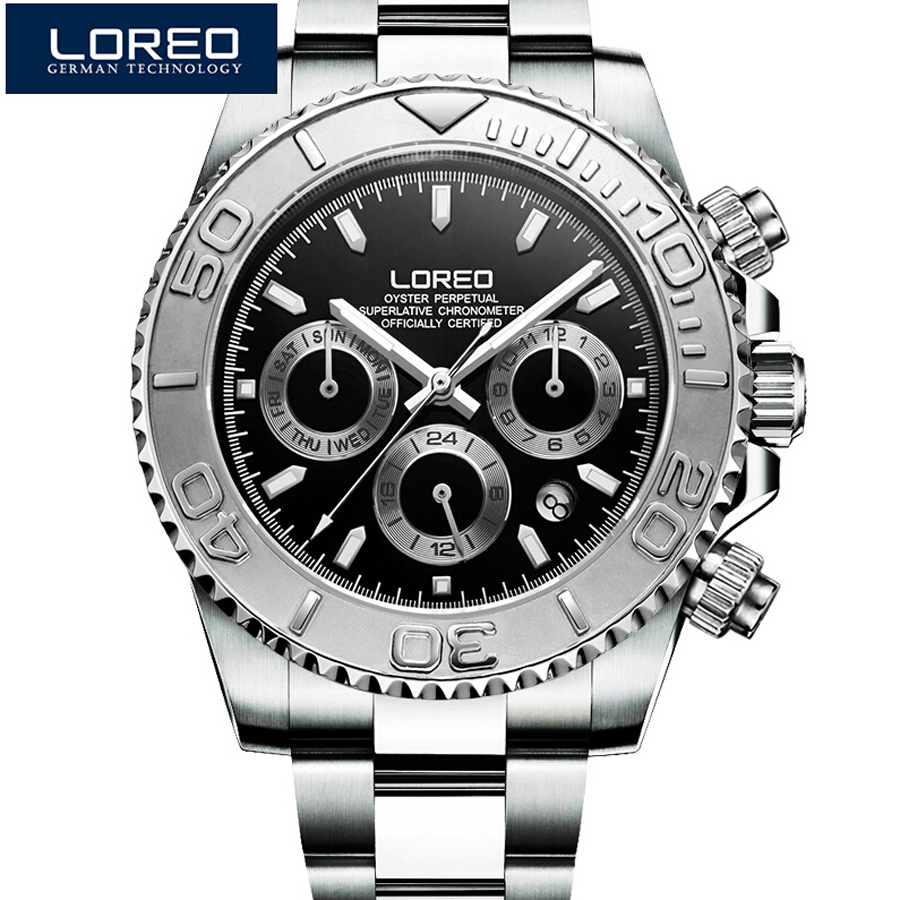 LOREO Submariner Casual Sapphire Automatic Mechanical Watch Men Stainless steel Seagull movement Waterproof Watch Man relogio relojes full stainless steel men s sprot watch black and white face vx42 movement