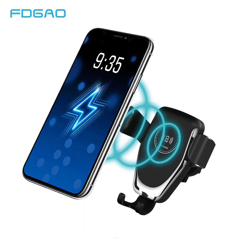 FDGAO Qi Wireless Car Charger for IPhone X XS Max XR 8 10W Fast Wireless Charging Stand for Samsung S8 S9 Car Charging Holder in Car Chargers from Cellphones Telecommunications