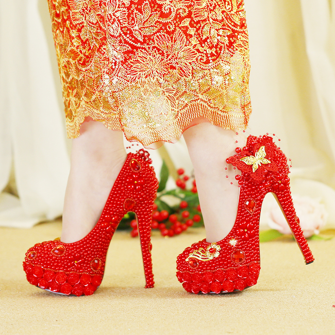Heel Tassele Talons red Style Mariage Papillon 8cm Pompes red Chaussures Chinois Cour 11cm Royal Red Rond Perle Bout Femmes Et 14cm Xquisite Or Mode Hauts Rouge De xYqEwAg17H