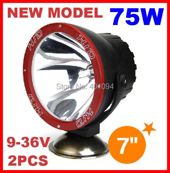 """2 PCS 7 """"75 W 9-32 V HID Xenon Trabalho Luz de Condução Offroad SUV 4WD ATV 4x4 Spot/Feixe de Inundação 3400lm IP67 VERMELHO Anel NEW Design caminhão"""