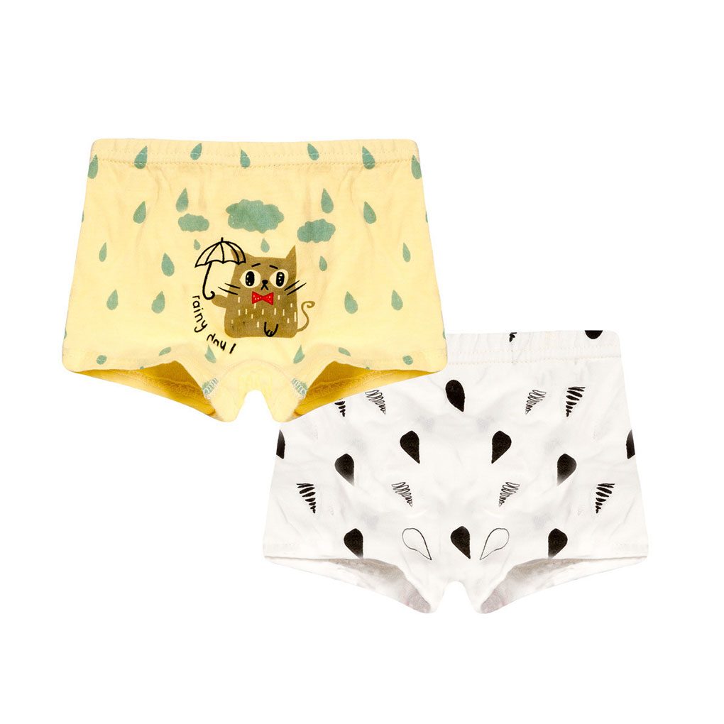 2pcs Toddler Boys Water Drop Print Boxers Animal Underwear Cartoon Underpants Panties Knickers Set Cotton Panties Kids Underwear