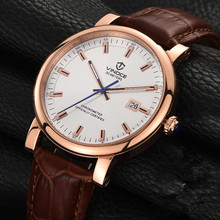 Relogio Masculino Men Watches VINOCE Top Brand Luxury Business Quartz Clock Leather Fashion Waterproof Military Sport Watch