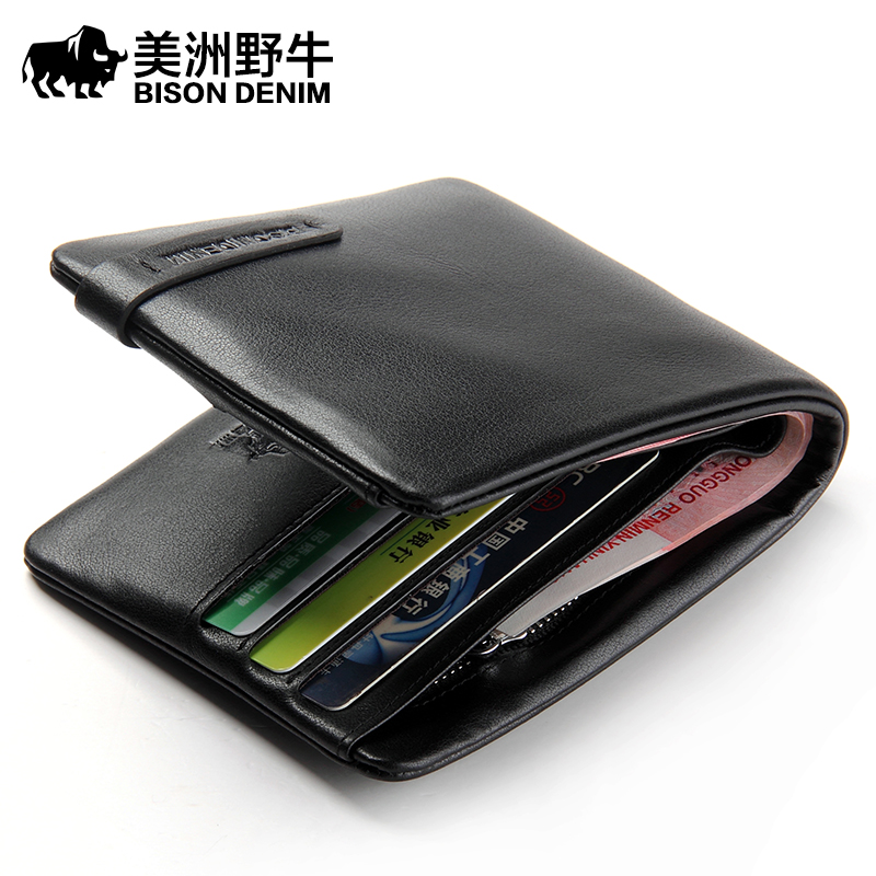 BISON DENIM Brand 2018 New Men Wallet Genuine Leather Cowhide Purse Credit Card Wallet Large Capacity Men's Wallet Free Shipping