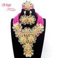 Brincos de moda de Nova Conjunto de Jóias Africano Fuschia Rosa Flor Contas de Cristal conjunto de Jóias Nigeriano W13740 Acessório Navio Livre