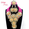 Fashion New African Jewelry Set Fuschia Pink earrings Flower Crystal Beads Jewelry Sets Nigerian Accessory Free Ship W13740